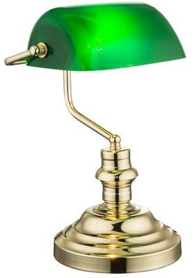Globo Antique brass bright green tafellamp