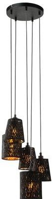 Globo Tuxon black five cords hanglamp