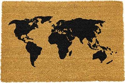 Felpudo Wereldkaart kokosmat met print