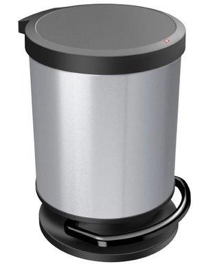 Rotho Paso Rond zilver pedaalemmer 20 liter