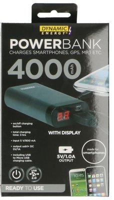Dynamic Energy 4000 mAh powerbank zwart