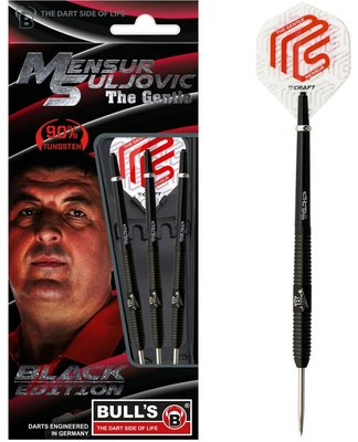 Bull's Mensur Suljovic Black Edition 90% tungsten steeltip dartpijlen