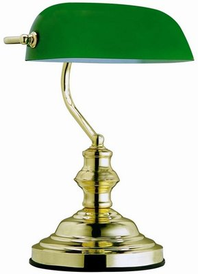 Globo Antique brass green tafellamp