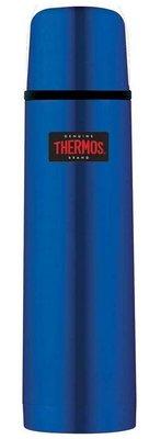 Thermos FBB metallic blauw thermosfles 1 liter
