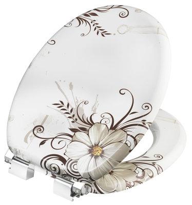 Cornat Brown Flower decor toiletbril