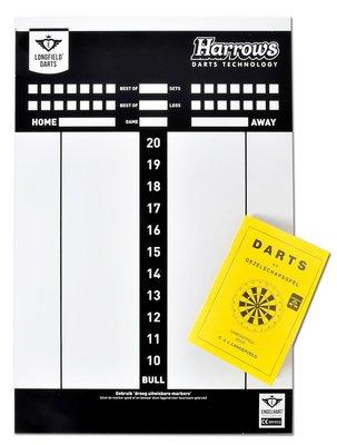 Harrows whiteboard scorebord met spelregelboekje