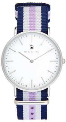 Black Oak Velutino blue white purple 40 mm horloge