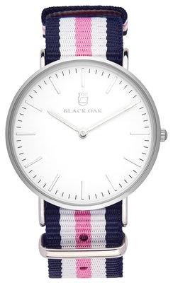 Black Oak Velutina blue white pink 36 mm horloge