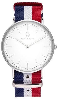 Black Oak Velutina blue white red 36 mm horloge