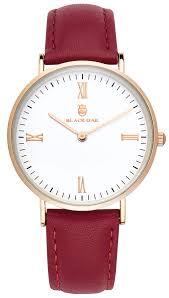 Black Oak Martinez burgundy 36 mm horloge