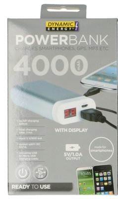 Dynamic Energy 4000 mAh powerbank zilver