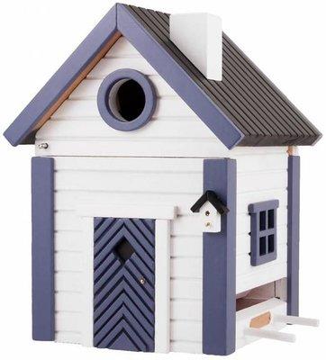 Wildlife Garden White and Blue Cottage vogelhuis