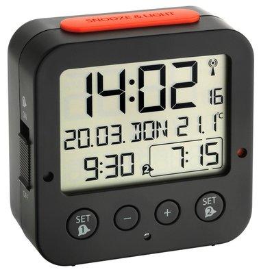 TFA Bingo zwart 8 cm radiogestuurde wekker