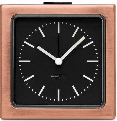 LEFF Amsterdam Block Black Brass 8.5 cm klok