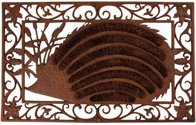 Esschert Design Gietijzeren deurmat egel met kokosborstels