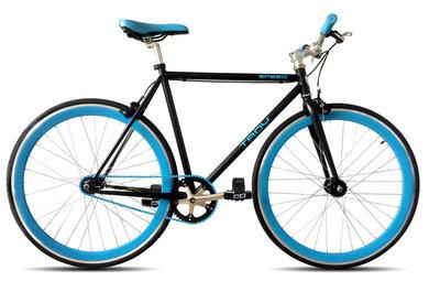 Troy Speed matte black blue 54 cm fixed gear bike