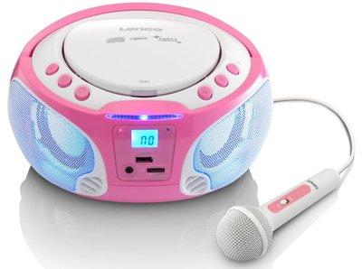 Lenco SCD-650 roze draagbare karaoke radio