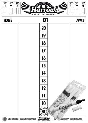 Harrows whiteboard scorebord met stiften