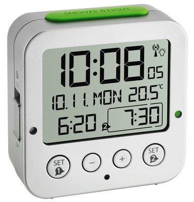 TFA Bingo zilver 8 cm radiogestuurde wekker
